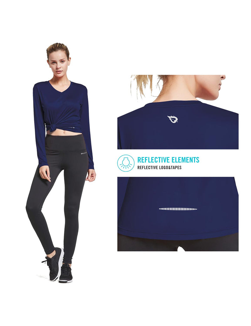Baleaf Womens Loose Fit V-Neck Tag-free Long Sleeved Shirt Navy Details