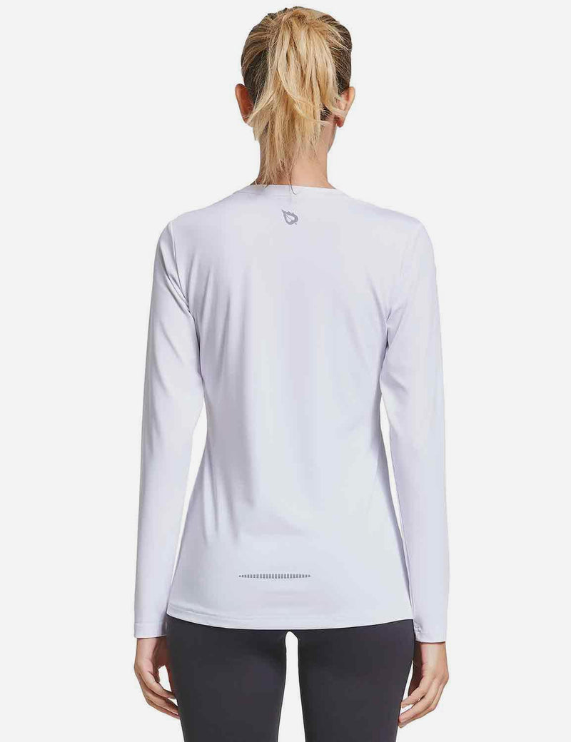 Baleaf Womens Crew-Neck Tag-Free Long Sleeve Shirts grey front