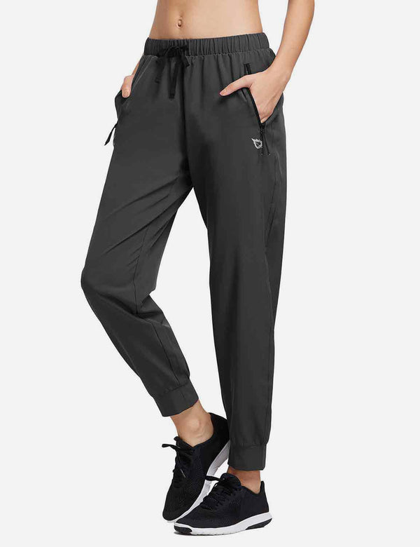 Baleaf Womens Woven UPF 50+ Tapered Pants black side