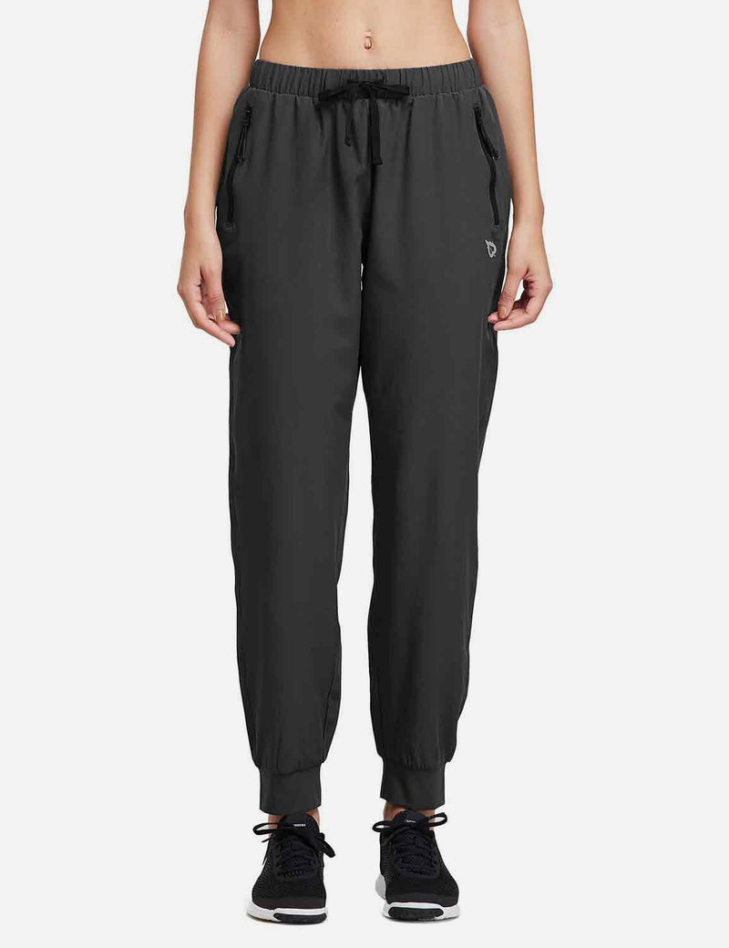 Baleaf Womens Woven  UPF 50+ Tapered Pants black back