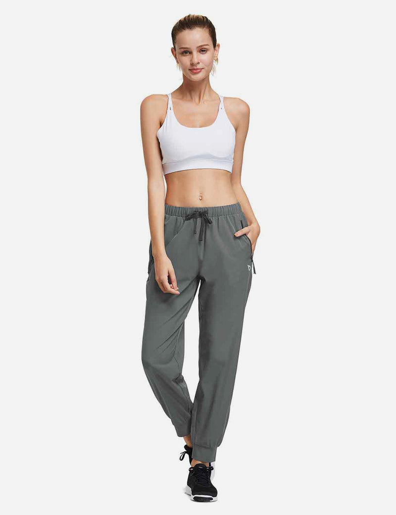 Baleaf Womens Woven  UPF 50+ Tapered Pants grey full