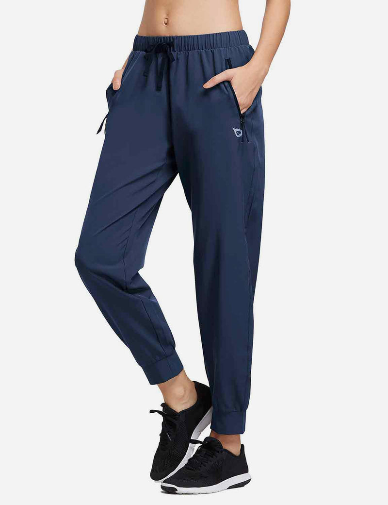 Baleaf Womens Woven  UPF 50+ Tapered Pants navy front