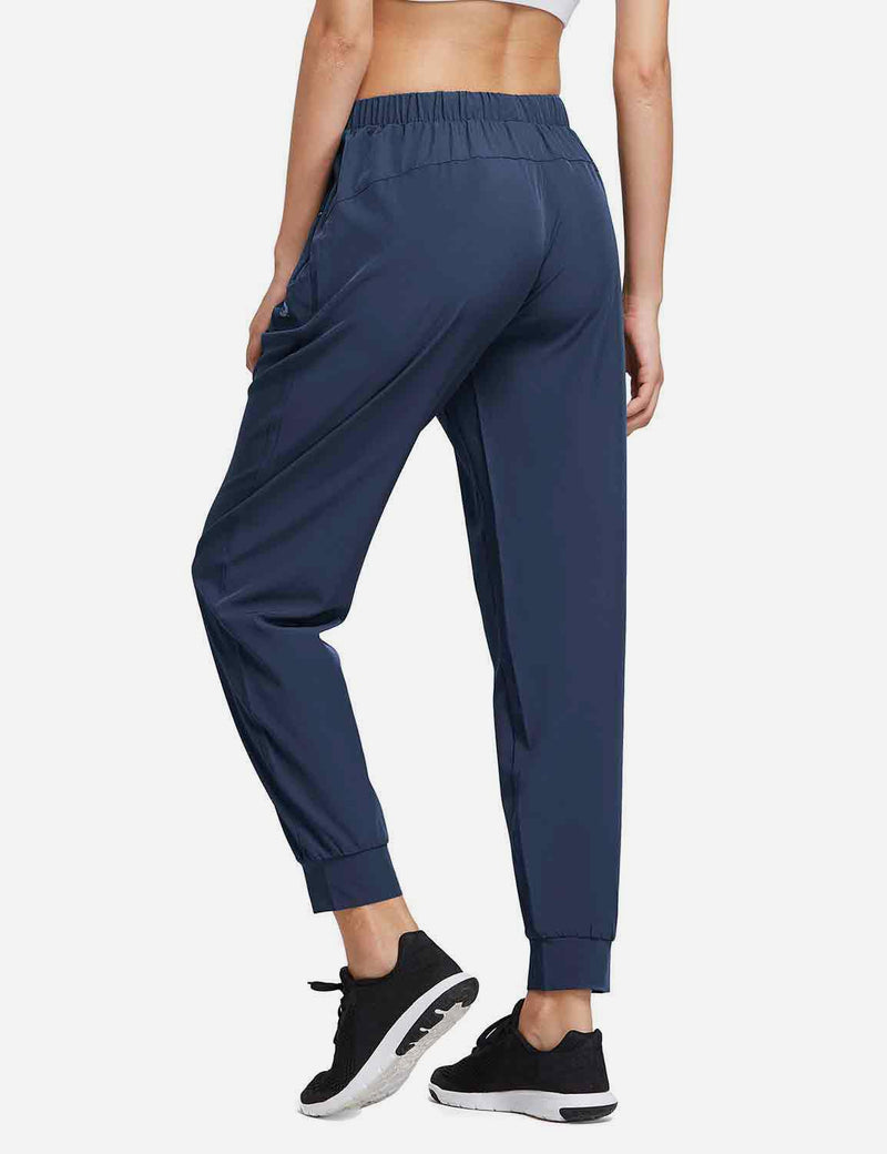 Baleaf Womens Woven  UPF 50+ Tapered Pants navy side