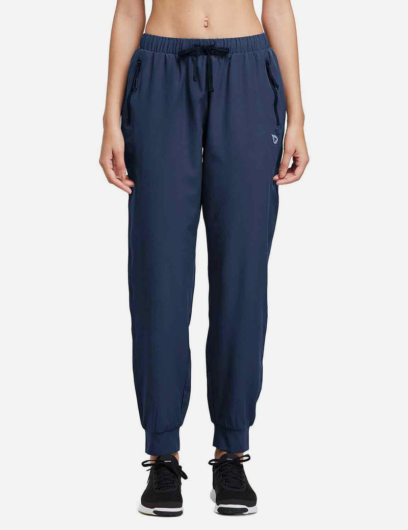 Baleaf Womens Woven  UPF 50+ Tapered Pants navy back