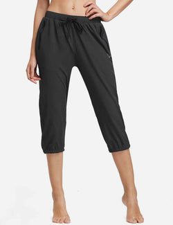 Baleaf Womens Woven UPF 50+ Tapered Capris black front