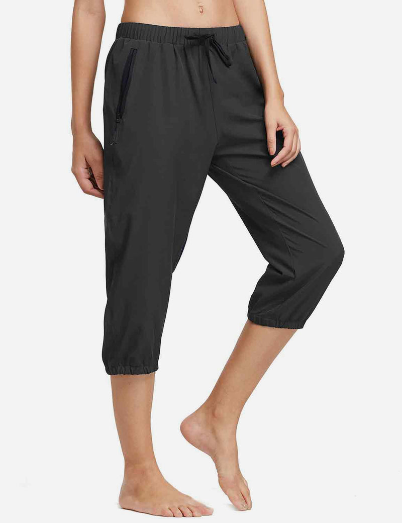 Baleaf Womens Woven UPF 50+ Tapered Capris black side