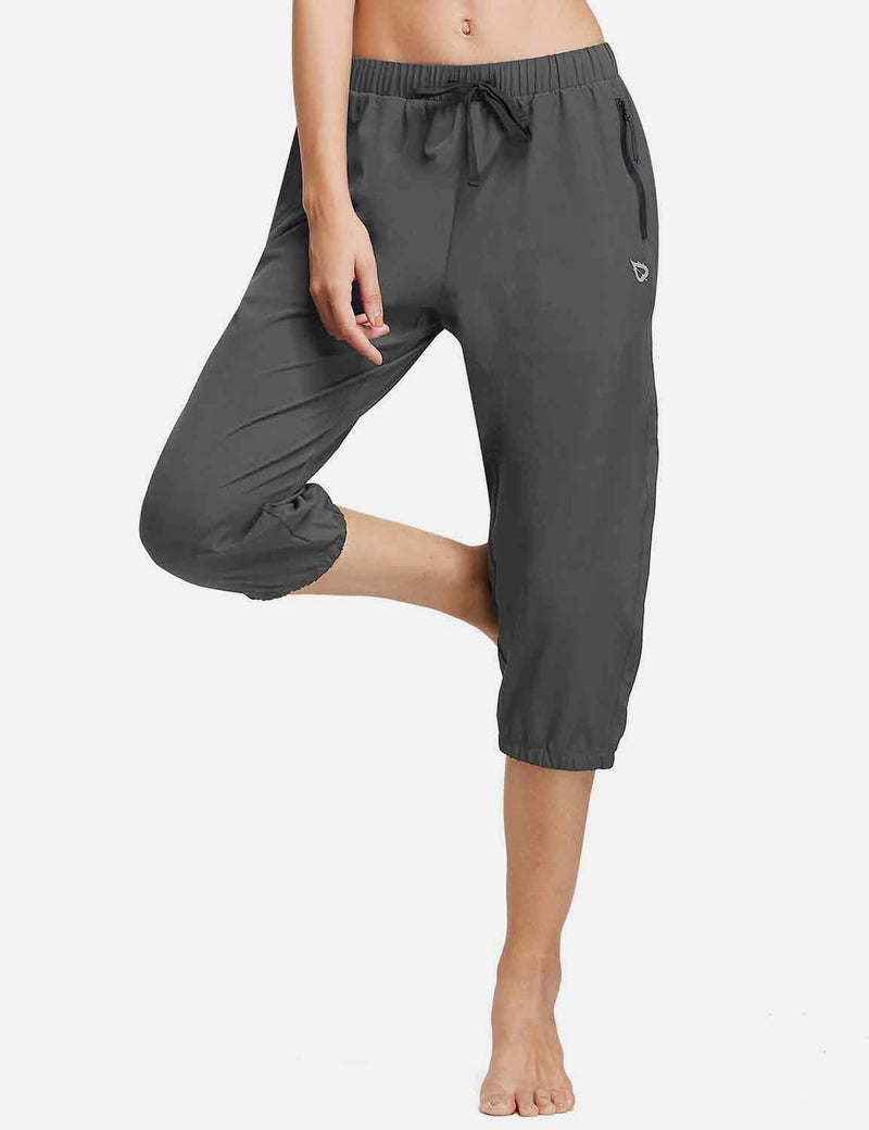 Baleaf Womens Woven UPF 50+ Tapered Capris grey side