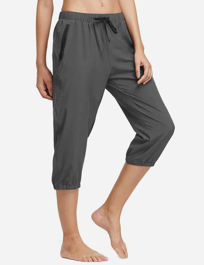 Baleaf Womens Woven UPF 50+ Tapered Capris grey front