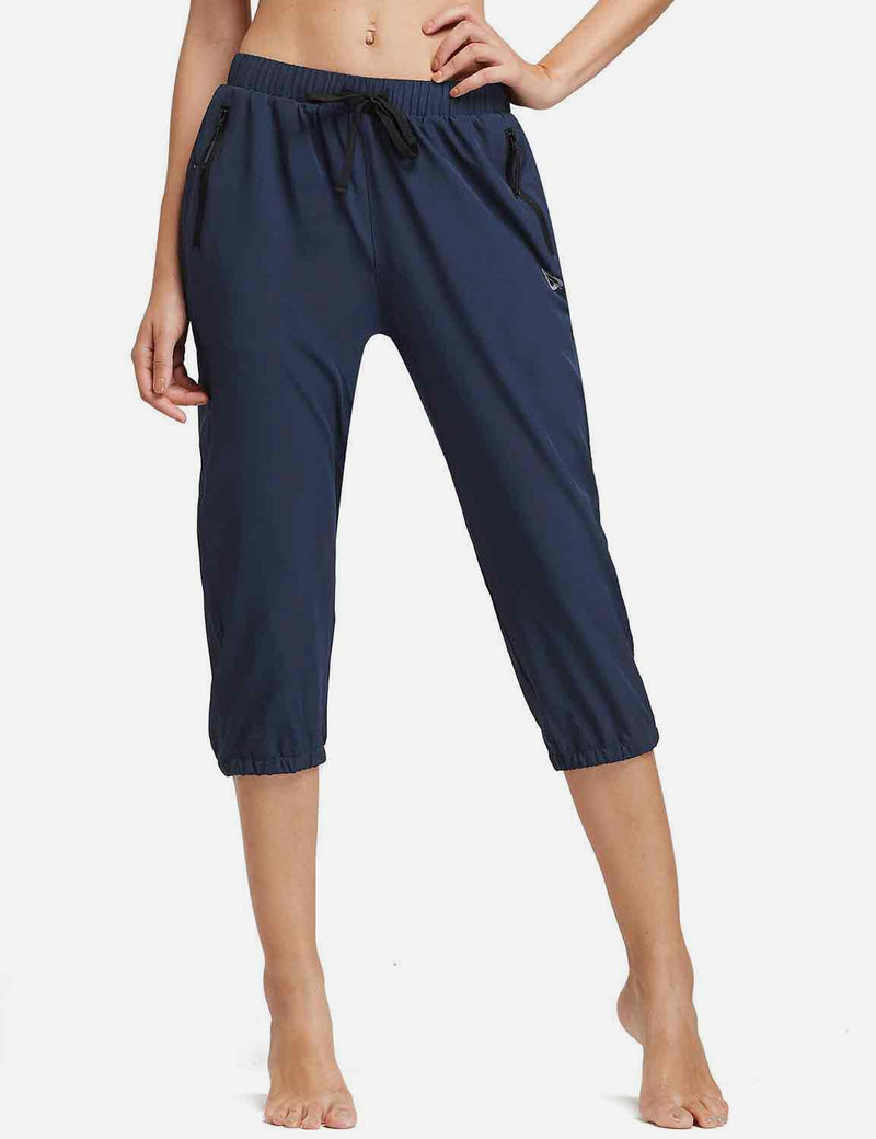 Baleaf Womens Woven UPF 50+ Tapered Capris navy front