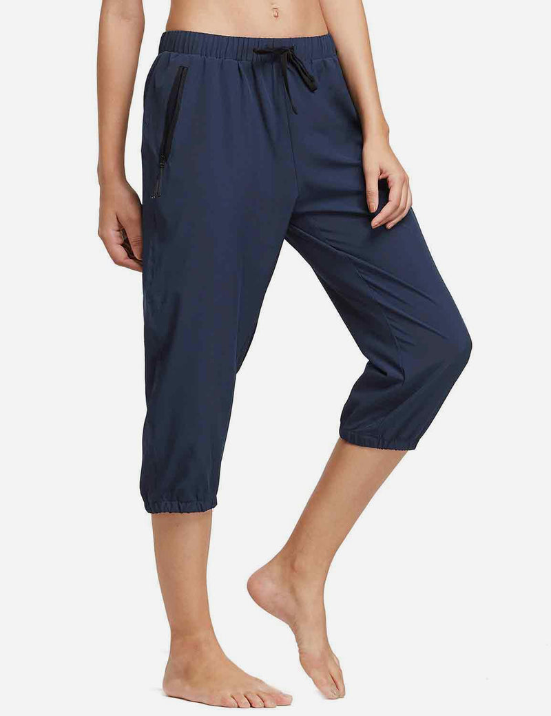 Baleaf Womens Woven UPF 50+ Tapered Capris navy side