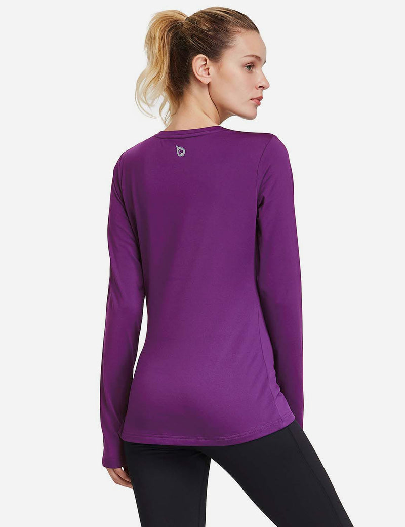 Baleaf Womens Fleece Thumb Holes Zipper Pocketed Long Sleeved Top royal blue back