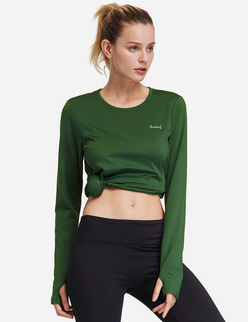 Baleaf Womens Fleece Thumb Holes Zipper Pocketed Long Sleeved Top green front