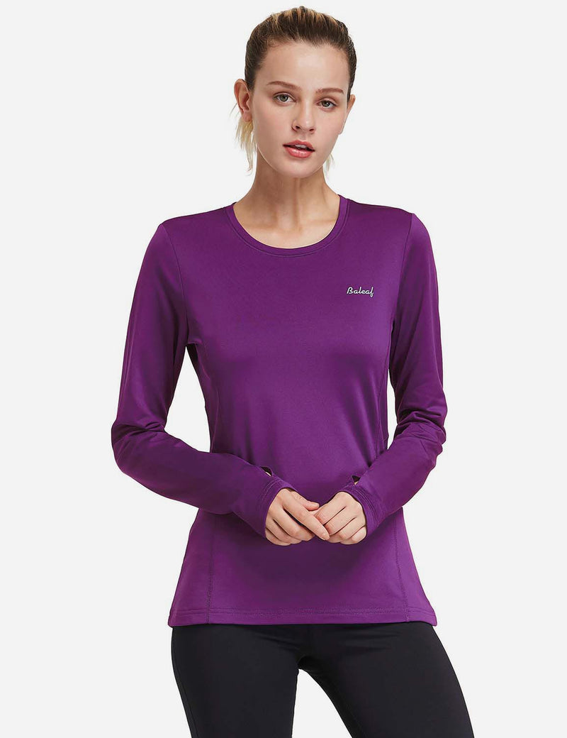 Baleaf Womens Fleece Thumb Holes Zipper Pocketed Long Sleeved Top purple front