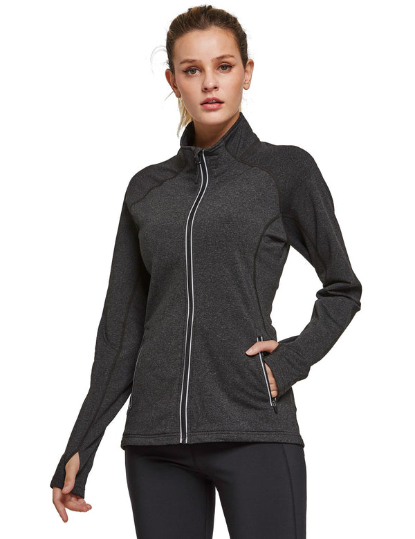 Baleaf Womens Fleece Full-Zip Bodyfit Pocketed Track Jacket w Tumbholes black heather front