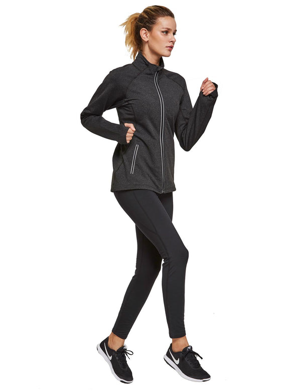 Baleaf Womens Fleece Full-Zip Bodyfit Pocketed Track Jacket w Tumbholes black heather full