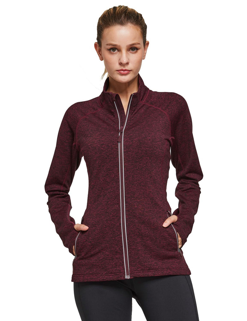Baleaf Womens Fleece Full-Zip Bodyfit Pocketed Track Jacket w Tumbholes red heather front