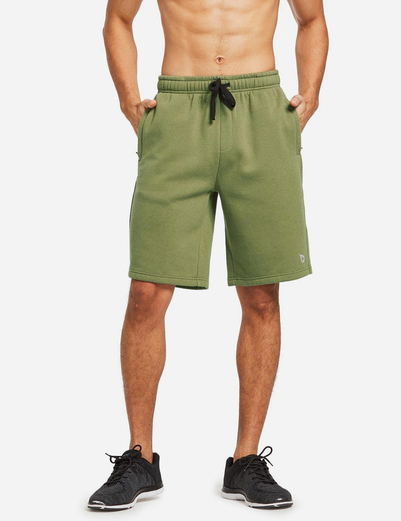 Baleaf Mens Fleece Weekend Shorts Pocketed & Drawstring Sweatshorts army green front