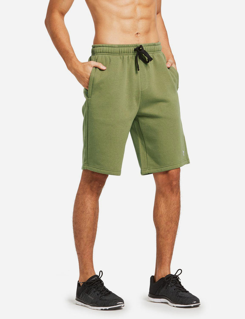 Baleaf Mens Fleece Weekend Shorts Pocketed & Drawstring Sweatshorts army green side