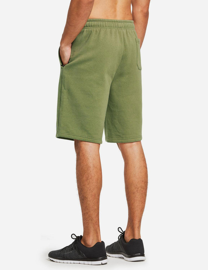 Baleaf Mens Fleece Weekend Shorts Pocketed & Drawstring Sweatshorts army green back