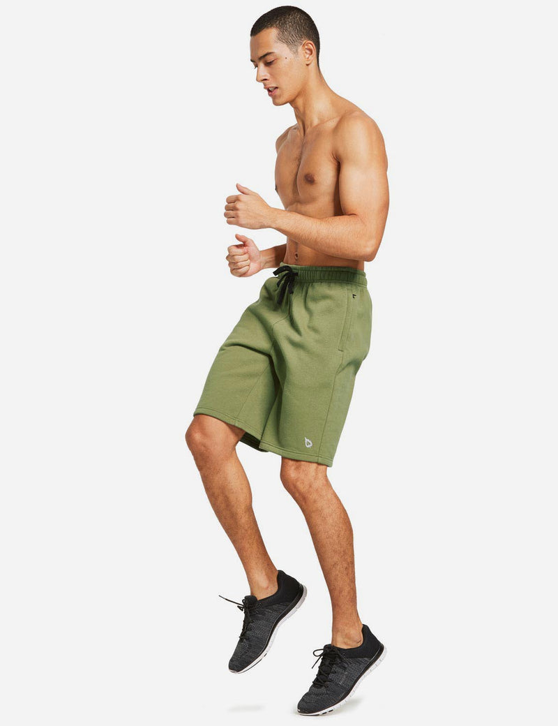 Baleaf Mens Fleece Weekend Shorts Pocketed & Drawstring Sweatshorts army green full