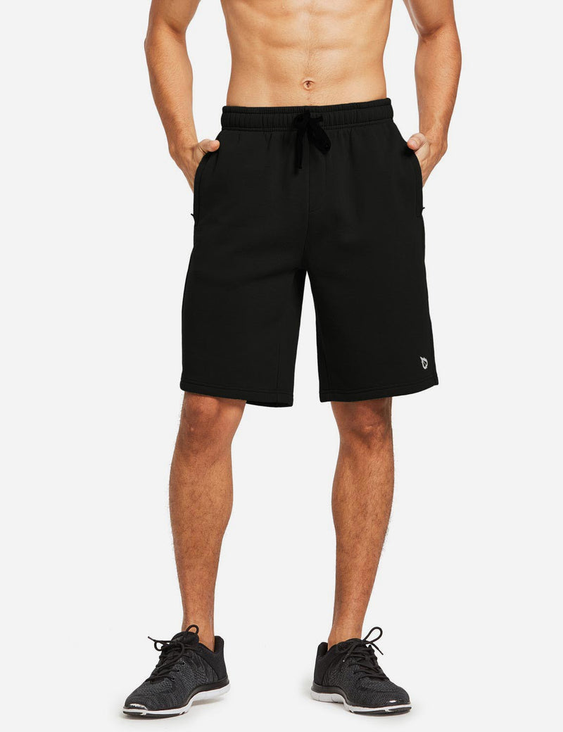 Baleaf Mens Fleece Weekend Shorts Pocketed & Drawstring Sweatshorts black front