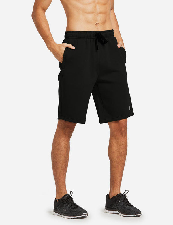 Baleaf Mens Fleece Weekend Shorts Pocketed & Drawstring Sweatshorts black side main