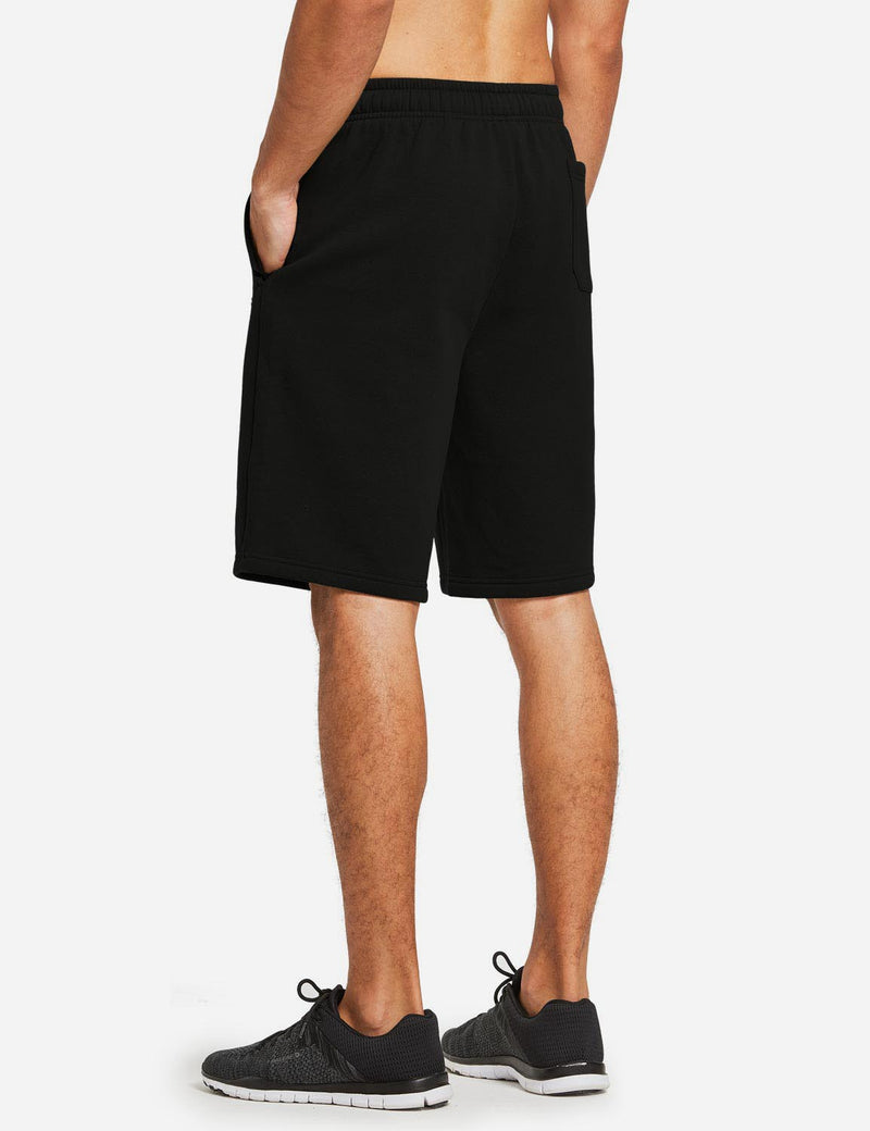 Baleaf Mens Fleece Weekend Shorts Pocketed & Drawstring Sweatshorts black back