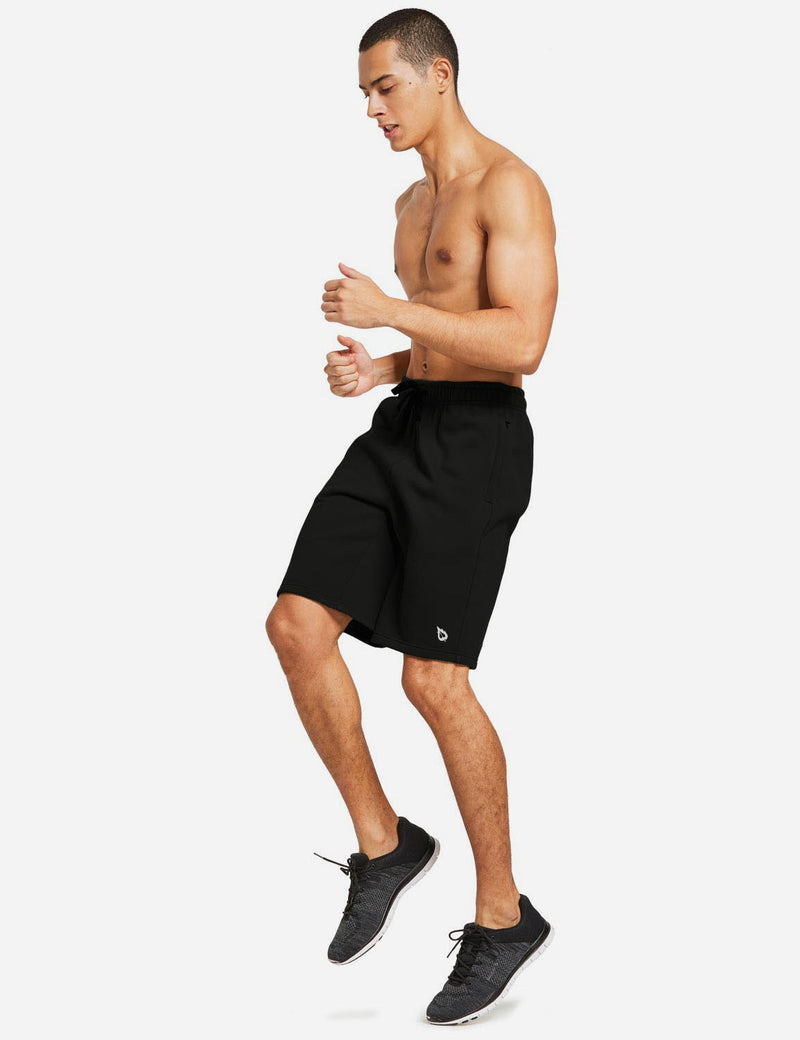 Baleaf Mens Fleece Weekend Shorts Pocketed & Drawstring Sweatshorts black full