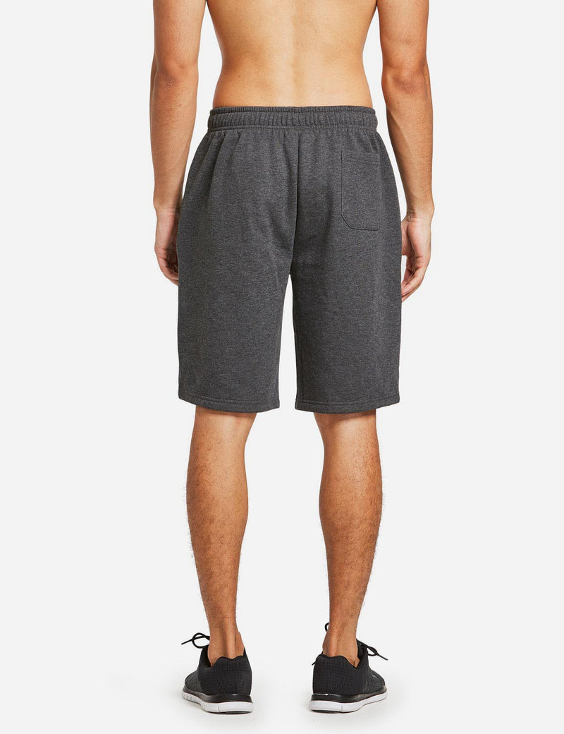 Baleaf Mens Fleece Weekend Shorts Pocketed & Drawstring Sweatshorts charcoal back