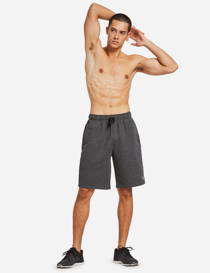 Baleaf Mens Fleece Weekend Shorts Pocketed & Drawstring Sweatshorts charcoal full