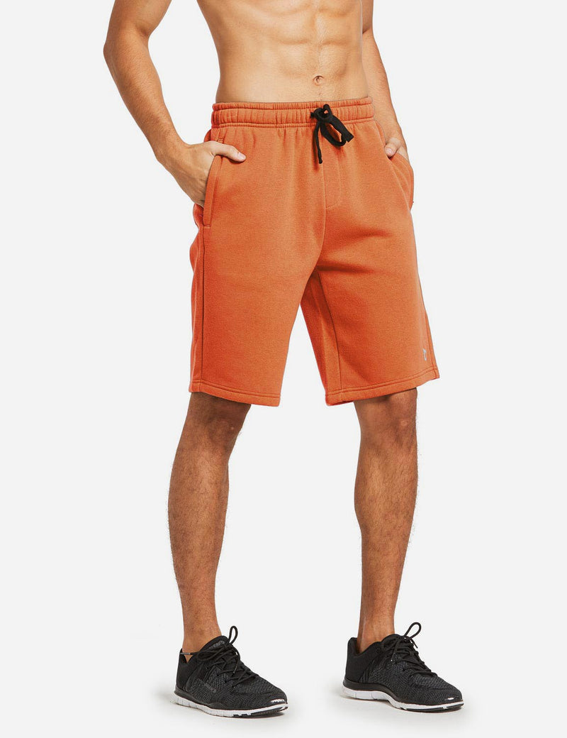 Baleaf Mens Fleece Weekend Shorts Pocketed & Drawstring Sweatshorts orange side