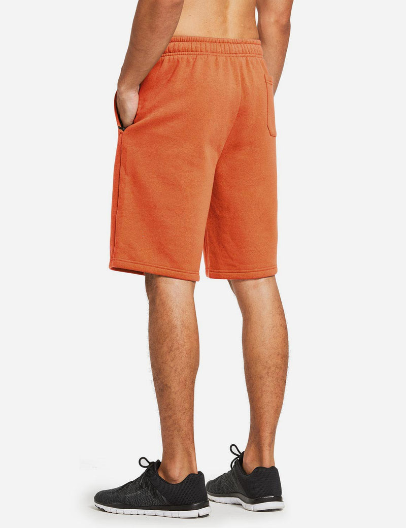 Baleaf Mens Fleece Weekend Shorts Pocketed & Drawstring Sweatshorts orange back