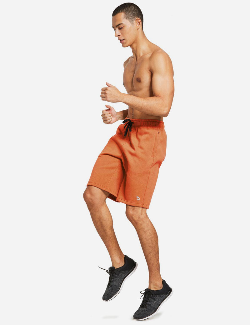 Baleaf Mens Fleece Weekend Shorts Pocketed & Drawstring Sweatshorts orange full