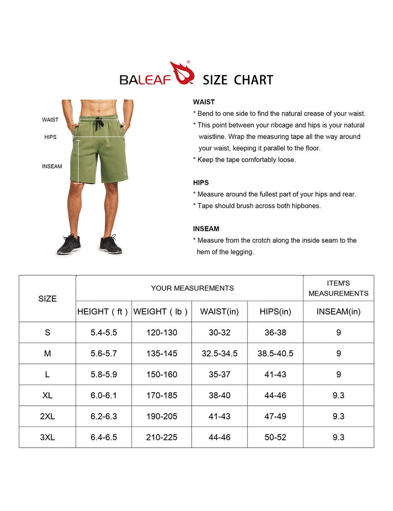 Baleaf Mens Fleece Weekend Shorts Pocketed & Drawstring Sweatshorts size chart