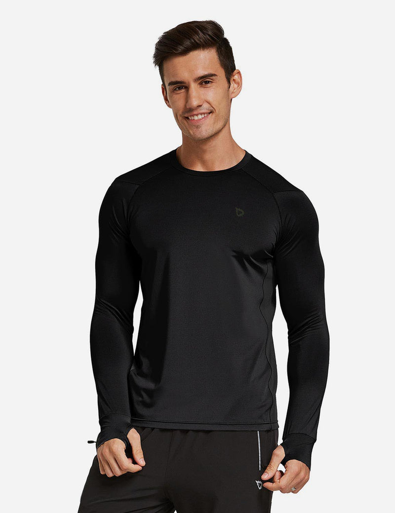 Baleaf Mens Long Sleeved T Shirt w Thumbholes Breathable Bodyfit Cut Black front