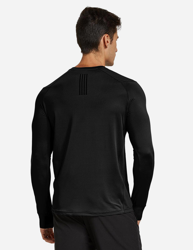 Baleaf Mens Long Sleeved T Shirt w Thumbholes Breathable Bodyfit Cut Black back