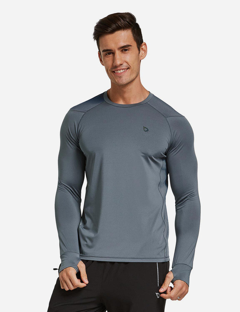 Baleaf Mens Long Sleeved T Shirt w Thumbholes Breathable Bodyfit Cut Gray front