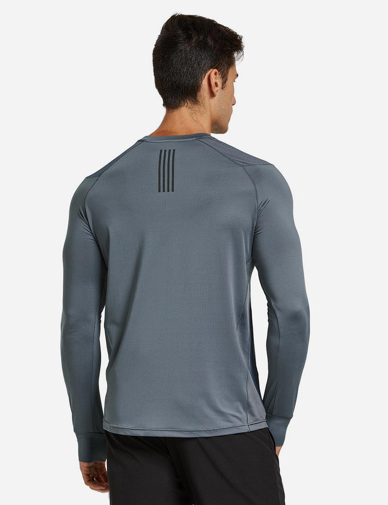 Baleaf Mens Long Sleeved T Shirt w Thumbholes Breathable Bodyfit Cut Gray back