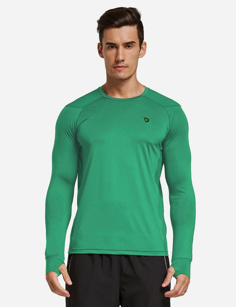 Baleaf Mens Long Sleeved T Shirt w Thumbholes Breathable Bodyfit Cut Green front