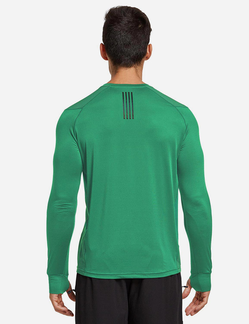 Baleaf Mens Long Sleeved T Shirt w Thumbholes Breathable Bodyfit Cut Green back