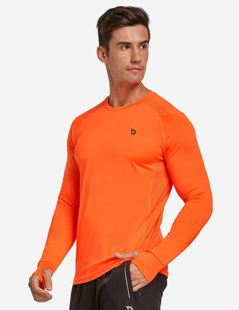 Baleaf Mens Long Sleeved T Shirt w Thumbholes Breathable Bodyfit Cut Orange side