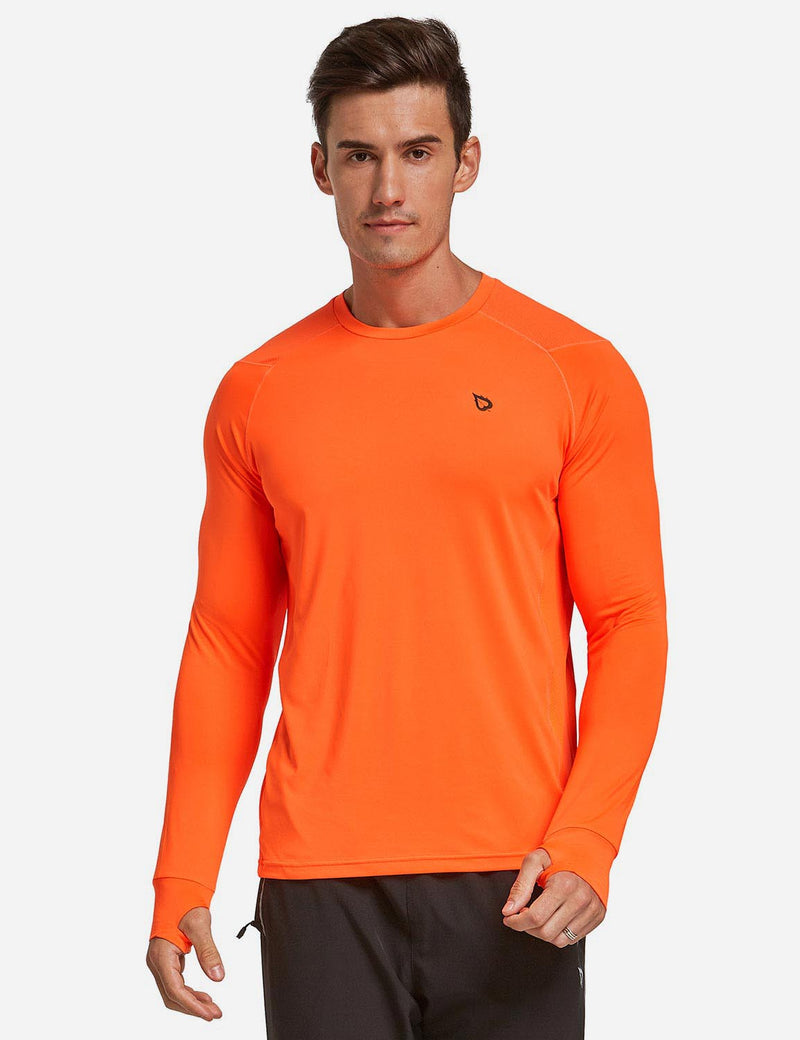 Baleaf Mens Long Sleeved T Shirt w Thumbholes Breathable Bodyfit Cut Orange front