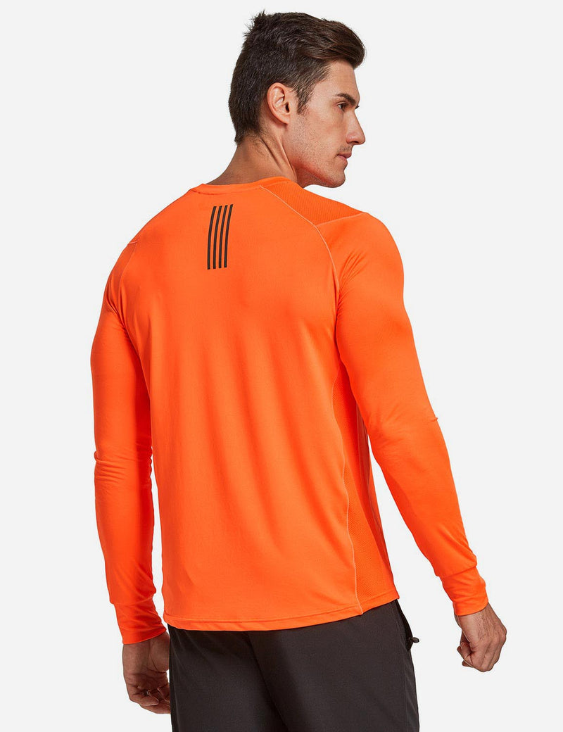 Baleaf Mens Long Sleeved T Shirt w Thumbholes Breathable Bodyfit Cut Orange back