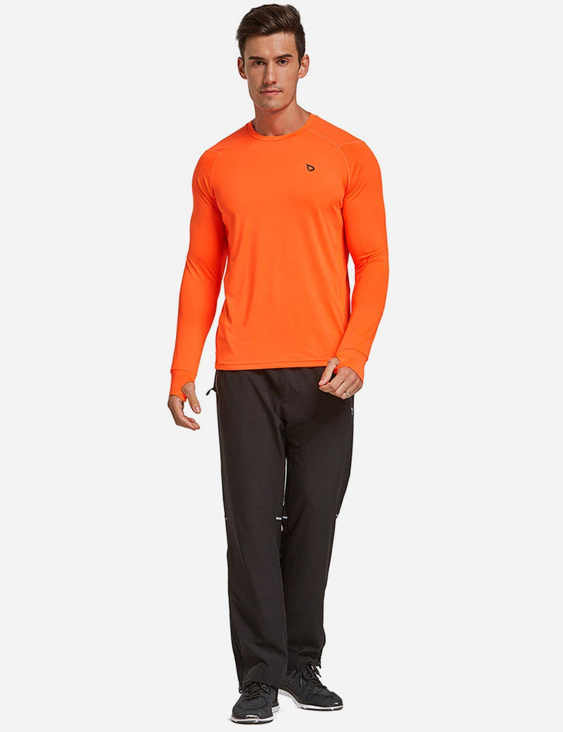 Baleaf Mens Long Sleeved T Shirt w Thumbholes Breathable Bodyfit Cut Orange full