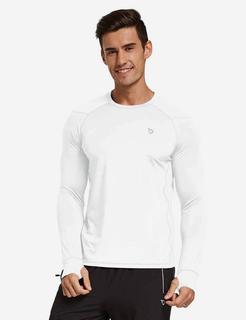 Baleaf Mens Long Sleeved T Shirt w Thumbholes Breathable Bodyfit Cut White front