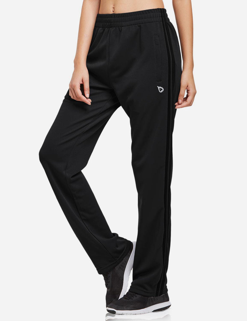Baleaf womens Active Stripe Elastic Waistband Side Pocketed Joggers & Sweatpants black front main