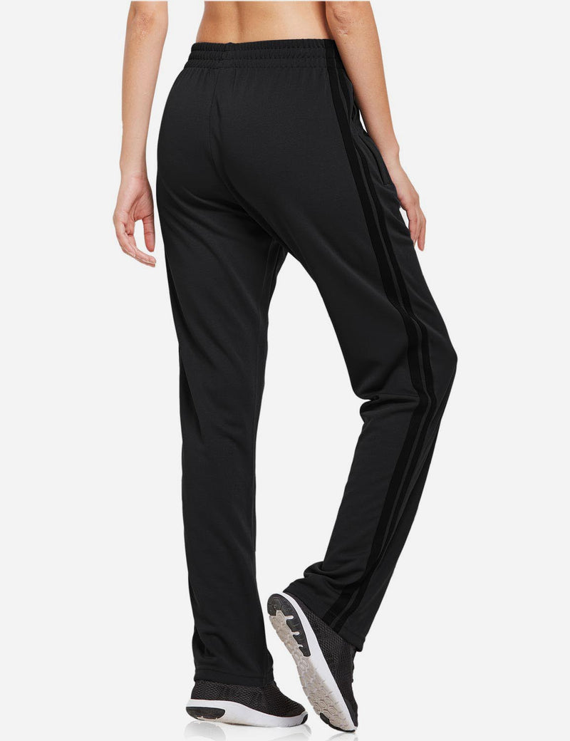 Baleaf womens Active Stripe Elastic Waistband Side Pocketed Joggers & Sweatpants black back