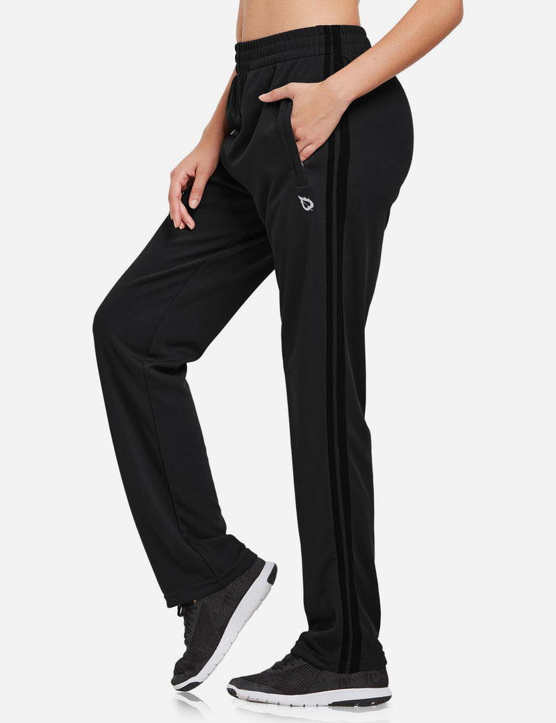Baleaf womens Active Stripe Elastic Waistband Side Pocketed Joggers & Sweatpants black side