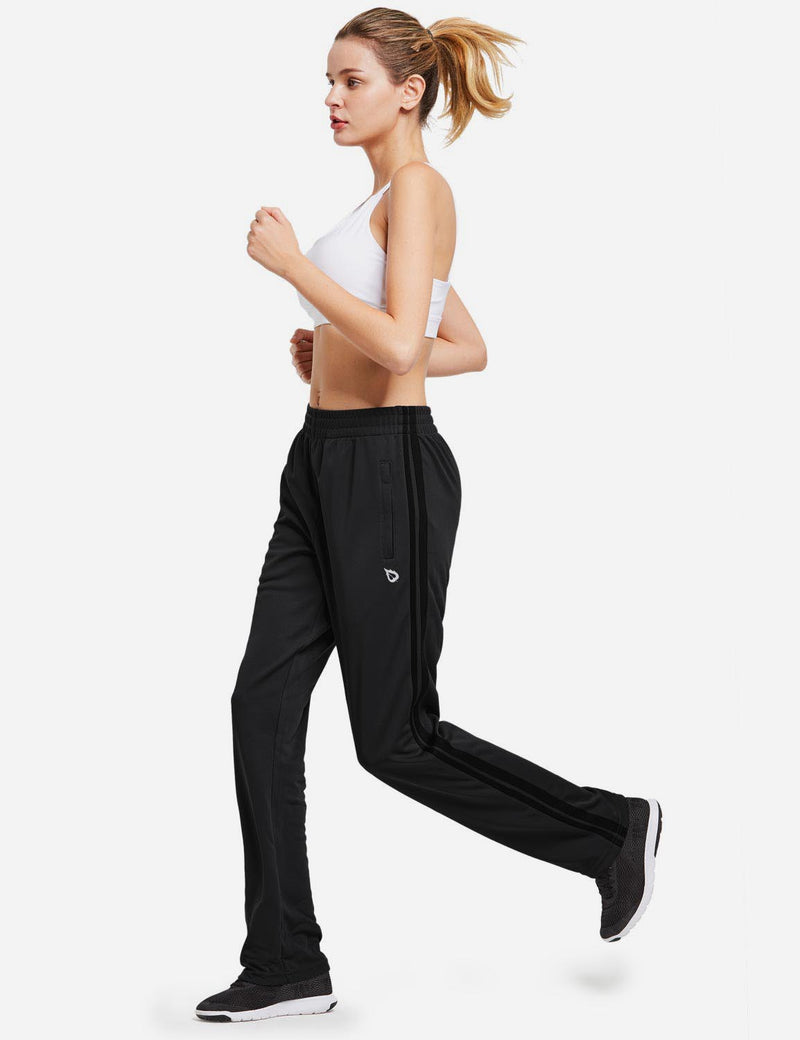Baleaf womens Active Stripe Elastic Waistband Side Pocketed Joggers & Sweatpants black full