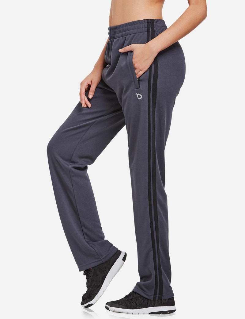 Baleaf womens Active Stripe Elastic Waistband Side Pocketed Joggers & Sweatpants gray black side